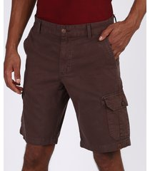 bermuda de sarja masculina cargo com bolsos marrom