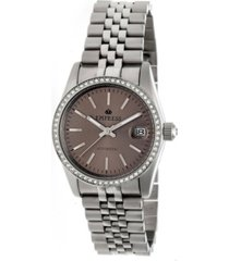 empress constance automatic pewter dial, silver stainless steel watch 37mm