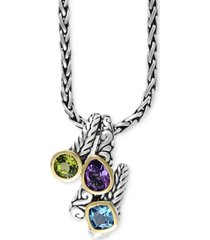 balissima by effy multi-gemstone pendant necklace (3-1/3 ct. t.w.) in sterling silver and 18k gold
