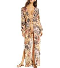 women's luli fama animal print cover-up wrap, size large - beige