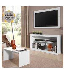 """rack com painel e suporte para tv até 55"""" com mesa de centro inovare multimóveis branco"""