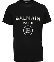 balmain metallic silver logo t-shirt