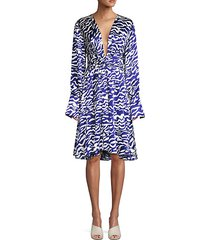 charmeuse animal-print silk dress