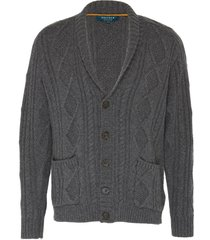 'the capital' shawl collar cable knit cashmere cardigan