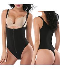 women's full body shaper thong convertible zipper corset cincher body suit