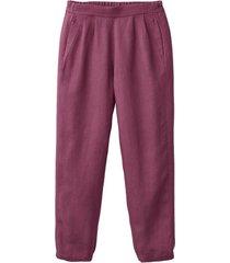 comfortabele linnen broek, bessenrood 38