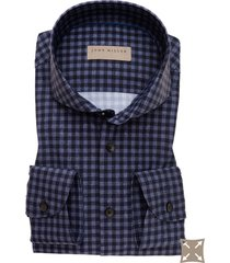 overhemd john miller tailored fit blauw geruit