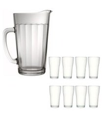 kit 1 jarra de vidro americano 1,2 litros e 8 copos de vidro sture móveis 200ml