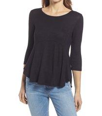 women's bobeau babydoll top, size small - black