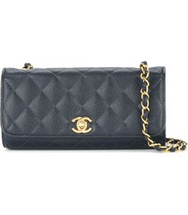 chanel pre-owned 1994-1996 quilted cc single chain shoulder bag - blue