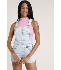 jardineira jeans feminina reta com barra dobrada azul claro