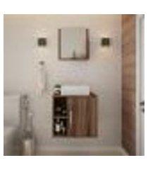 conjunto para banheiro gabinete com cuba q32 e espelheira soft 500 nogal