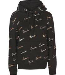 lanvin signature logo embroidered hoodie