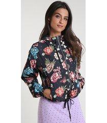 jaqueta corta vento feminina em nylon estampada floral com capuz preta