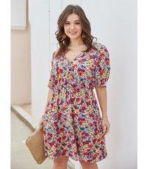 medias mangas midi con estampado floral y cuello en v de talla grande vestido