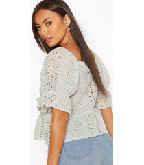 square neck puf sleeve frill hem top, mint