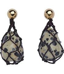 jasper earrings, dalmatian