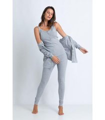 conjunto de pijama acuo com cardigan feminino