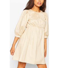 cotton poplin split back smock dress, stone