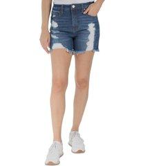indigo rein juniors' distressed frayed-hem denim shorts
