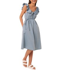 french connection sisay chambray dress, size 8 in light blue at nordstrom