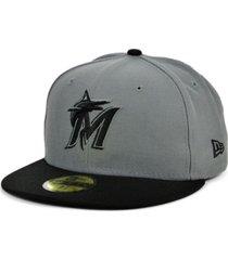 new era miami marlins basic gray black 59fifty cap
