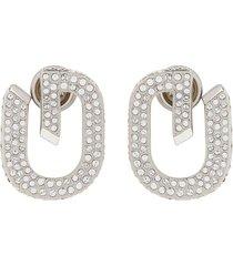 g link embellished earrings silver