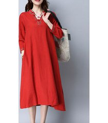 donne abito vintage con maniche lunghe a ricamo di fibbia