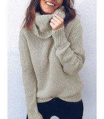 khaki turtleneck long sleeves sweater
