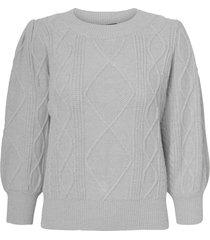 women's vero moda duda cable knit sweater, size small - grey