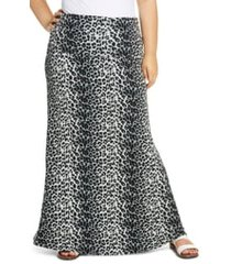 plus size women's loveappella leopard print fold over maxi skirt