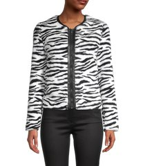 bailey 44 women's zebra-print faux fur jacket - black chalk - size xs