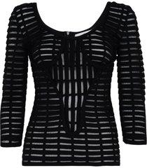 genny black open-knit long sleeve top