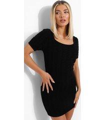 grof gebreide jurk met korte mouwen, black