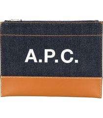 a.p.c. logo denim zipped clutch - blue