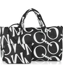 mcq alexander mcqueen inside out black & white signature tote bag
