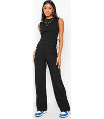 geribbelde geplooide lange top en wide leg broek set, black
