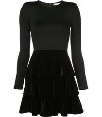 alice+olivia tiered velvet mini dress - black
