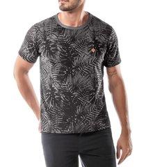 camiseta estampa floral no stress cinza - kanui