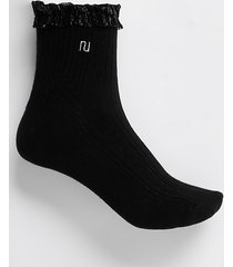 river island womens black ri mesh frill cable knit socks