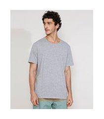 camiseta masculina manga curta básica gola careca cinza mescla