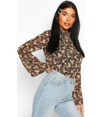 petite floral high neck blouse, black