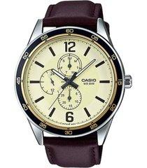 reloj analógico hombre casio mtp-e319l-9b cronógrafo - marrón con beige
