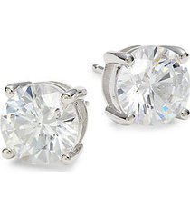platinum-plated sterling silver & simulated diamond stud earrings