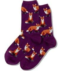 hot sox women's fox novelty crew socks