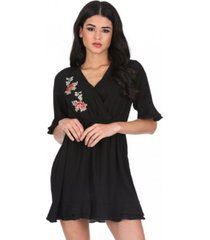 ax paris floral embroidered frill detail dress