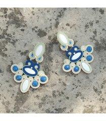kolczyki żyrandole - limonka, klasyczny niebieski