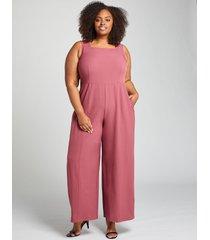 lane bryant women's lena square-neck jumpsuit 28p maroon