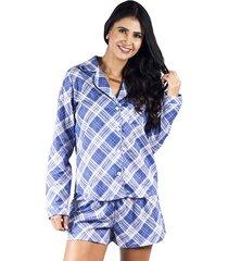 pijama dos piezas pantalón corto azul adriana arango 8675a