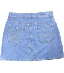 chiara ferragni light blue cotton blend skirt